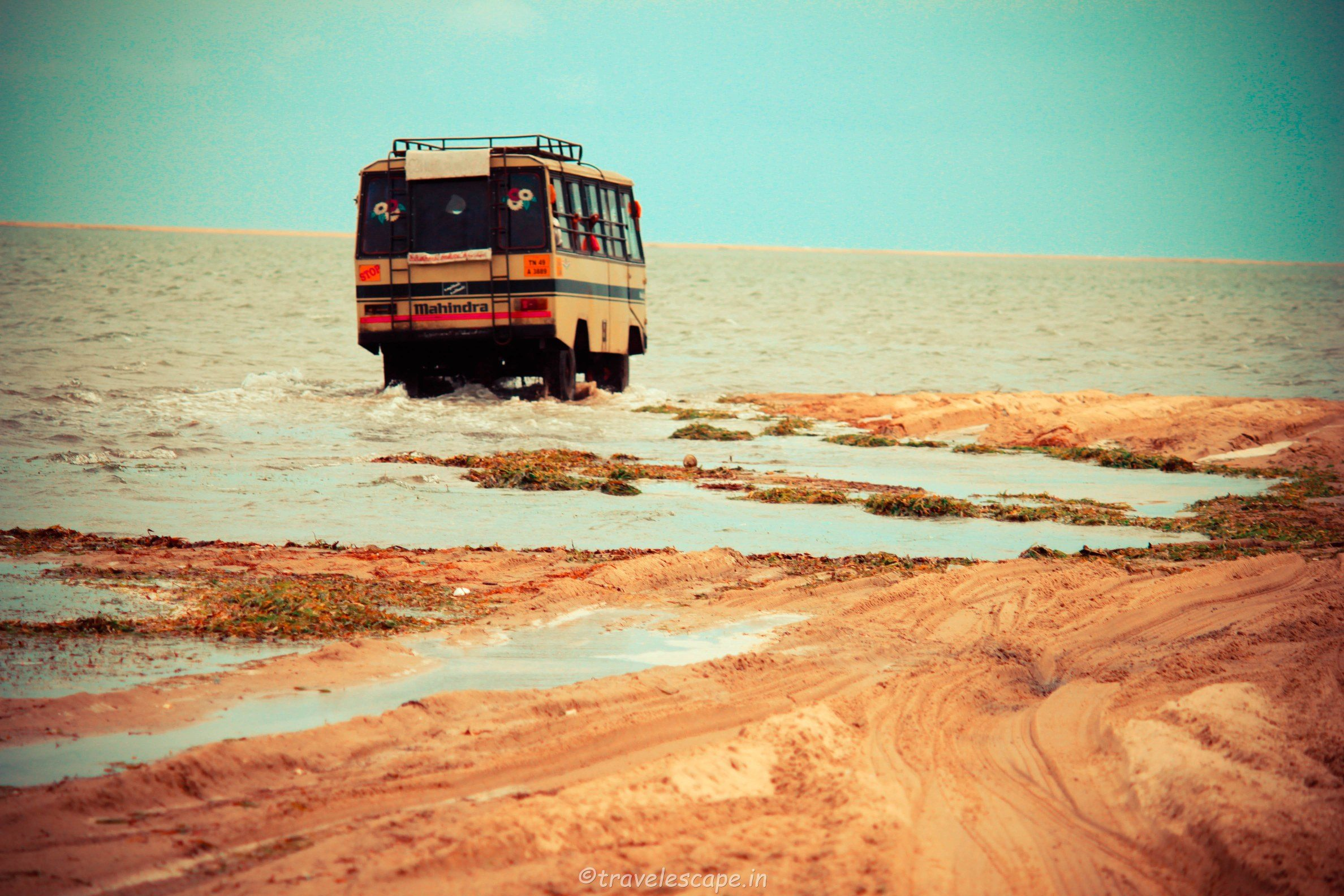 specially modified bus towards dhanushkodi