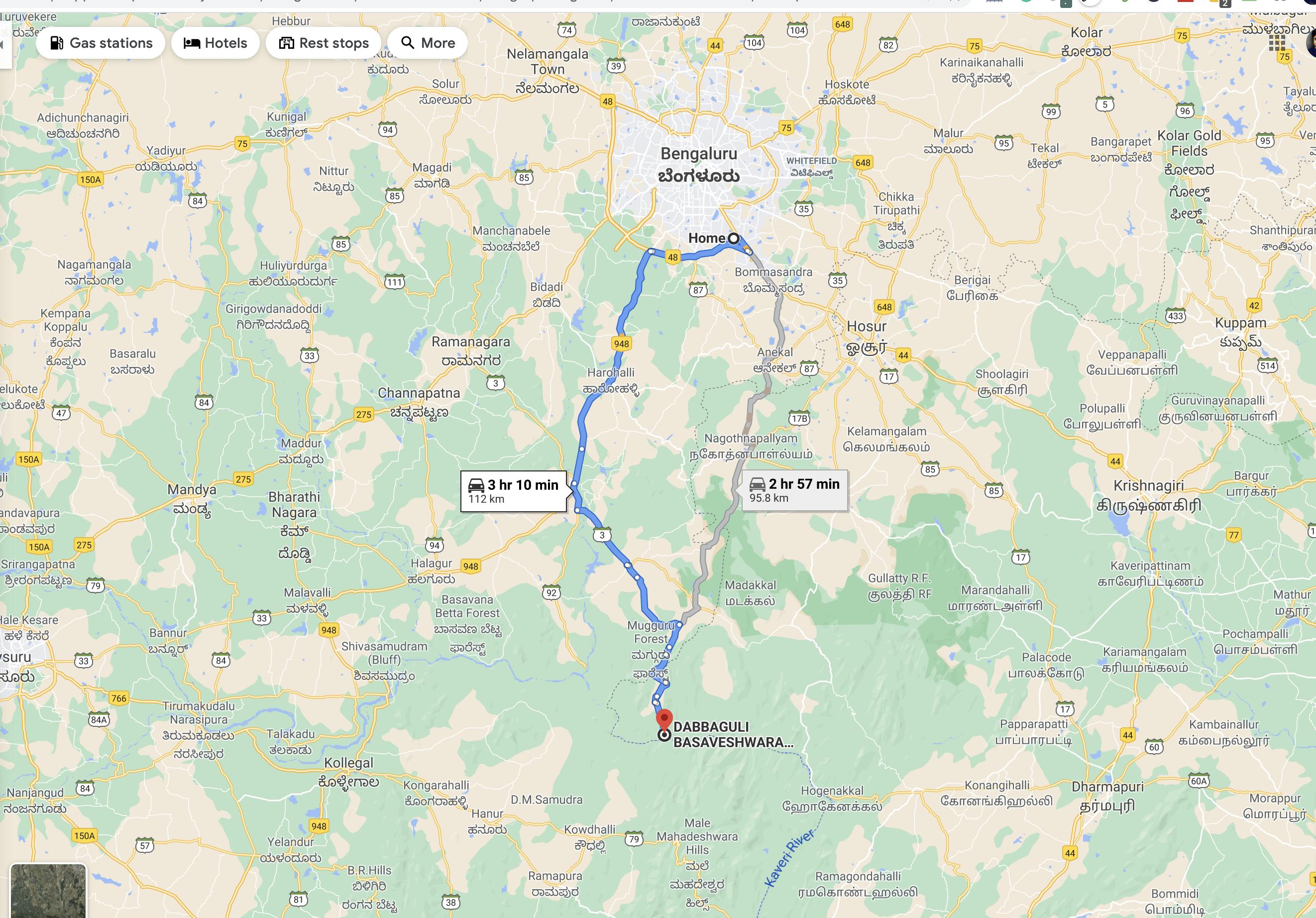 Bangalore-DabbaGuli Route