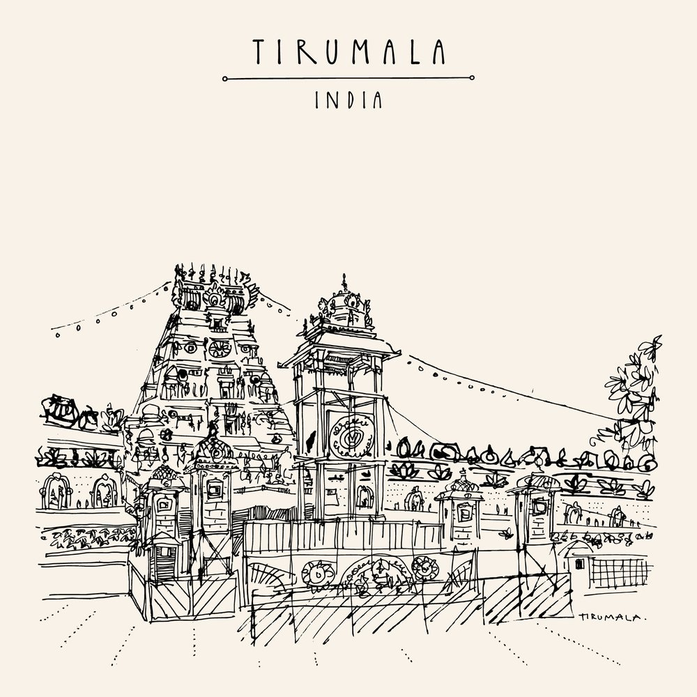 Tirumala Temple Drawing