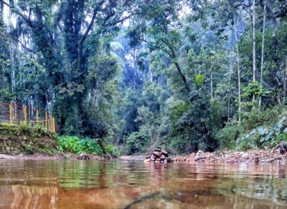 River flowing through the village of Kukke behind the temple of Kukke Subramanya
