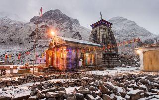 Kedarnath Temple at night, it is a hindu temple dedicated to Shiva, India.